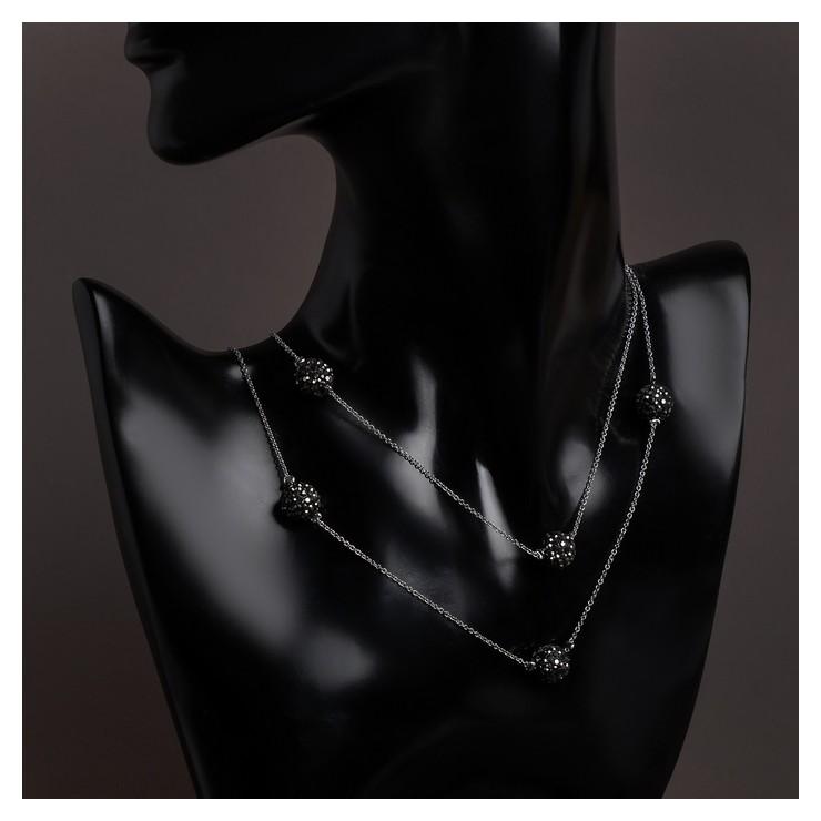 """Бусы """"Цепь"""" блеск шамбала, цвет чёрный в серебре, L=80, №12  Queen Fair"""