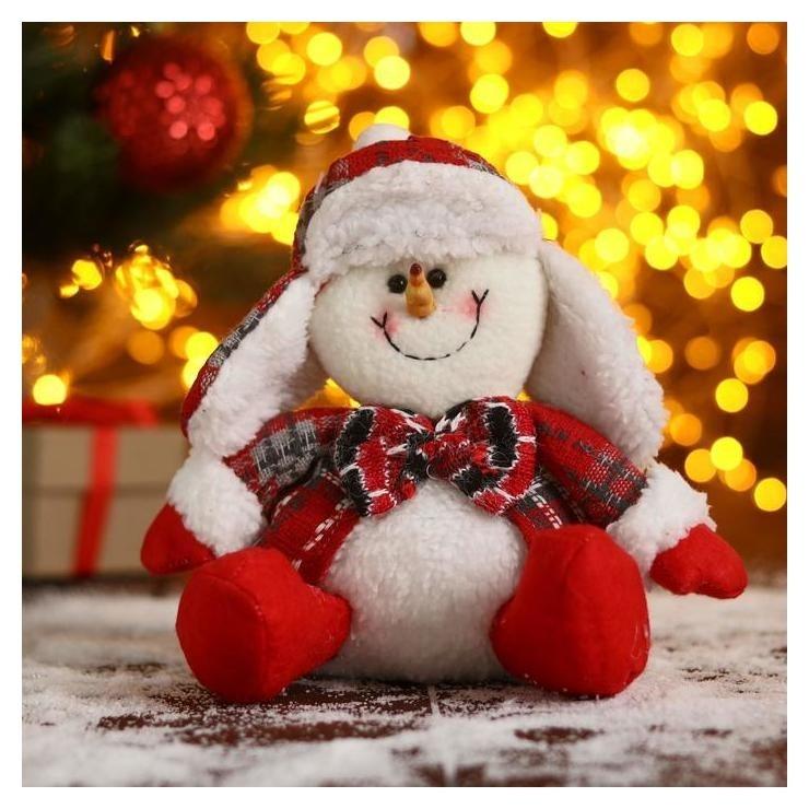 Мягкая игрушка Снеговик-красные цветочки 11х19 см Зимнее волшебство