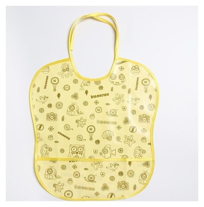 Нагрудник защитный 33х33 см., из клеенки с ПВХ покрытием, цвет желтый с рисунком Inseense