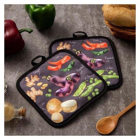 Кухонный набор доляна «Овощи», прихватка 17х17 см - 2 шт
