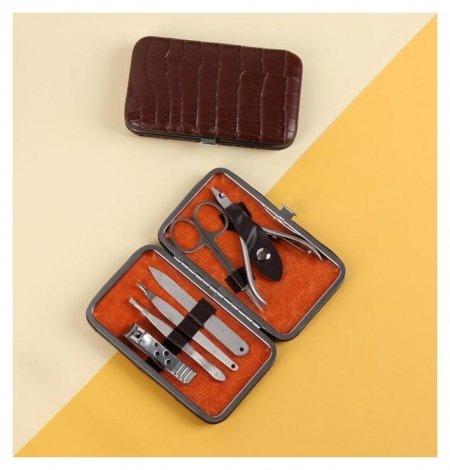 Набор маникюрный, 6 предметов, цвет коричневый  NNB