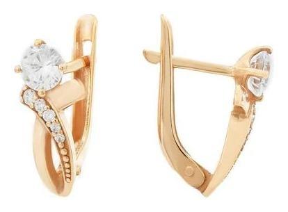 Серьги Грейс кристалл с полосами, позолота Алмаз-холдинг