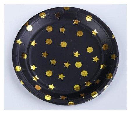 Тарелка бумажная «Конфетти», набор 6 шт., цвет чёрный  Страна Карнавалия