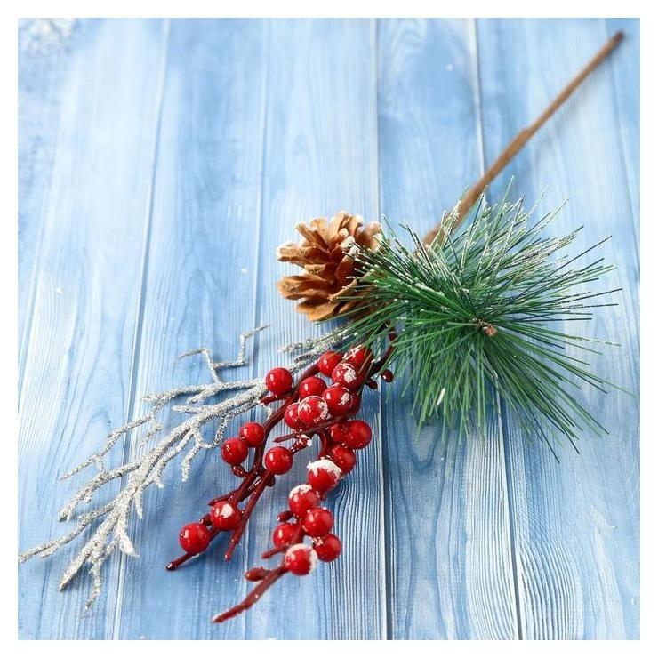 Декор Зимнее очарование хвоя веточка в серебре шишка ягоды 30 см NNB