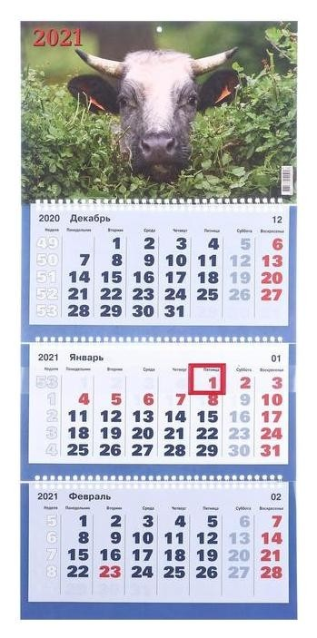 Календари квартальные трио Символ года, 2021-4 31 х 69 см NNB