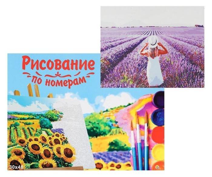Холст с красками 30×40 см, по номерам «Девушка в лавандовом поле» Рыжий кот