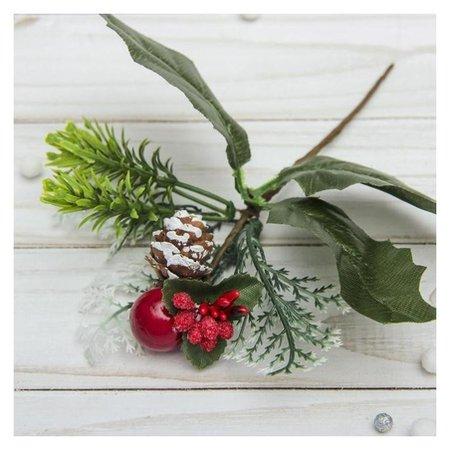 Декор Зимние мечты 14 см, веточка с ягодой и шишкой Зимнее волшебство