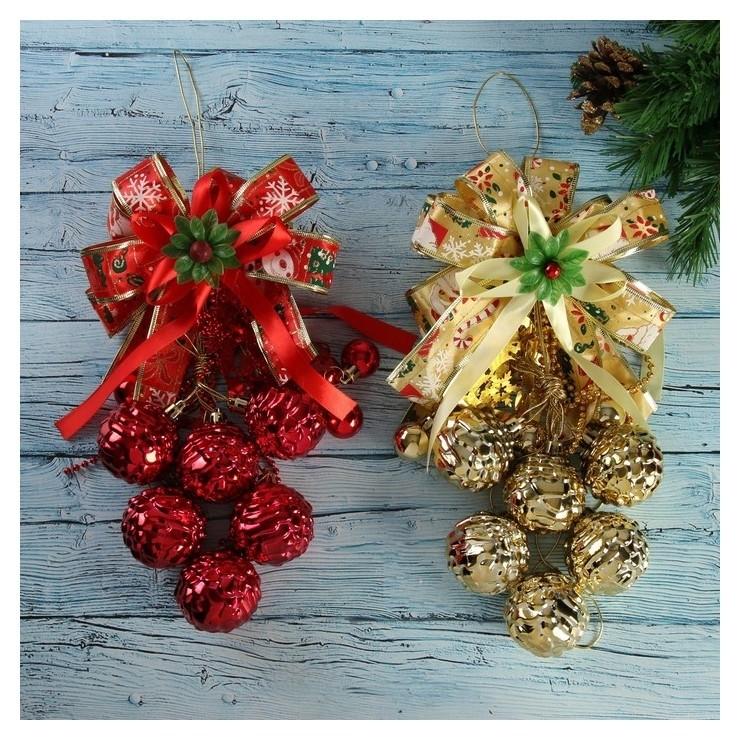 Украшение новогоднее Шарики-шишечки на бантике 6х40 см Зимнее волшебство