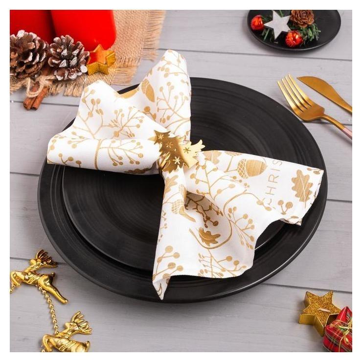 Салфетка с декоративным кольцом Merry Christmas, размер 35х35 см Этель