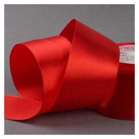 Лента атласная, 50 мм × 23 ± 1 м, цвет красный №26  Арт узор