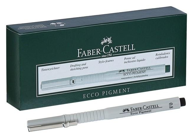 Ручка капиллярная для черчения и рисования Faber-castell линер Ecco Pigment 0.8 мм, пигментная, черный 166899 Faber-castell