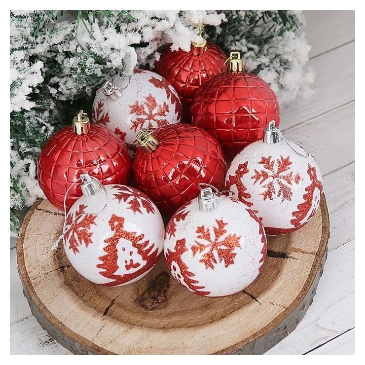 Набор шаров пластик D-5,5 см, 8 шт Ёлочки красно-белый Зимнее волшебство