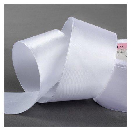Лента атласная, 50 мм × 23 ± 1 м, цвет белый №01  Арт узор