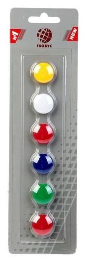 Магниты для досок Globus, 6 шт., 20 мм, 5 цветов  Globus