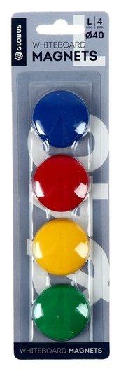 Магниты для досок Globus, 4 шт., 40 мм, 4 цвета  Globus