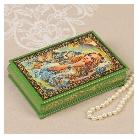 Шкатулка «Лесная дева», зелёная, 11×16 см, лаковая миниатюра NNB
