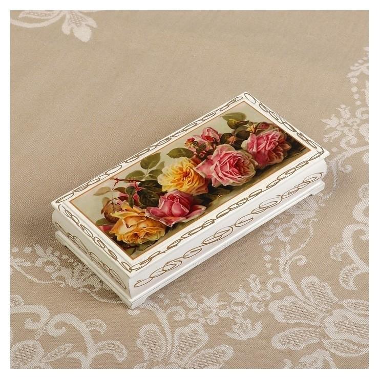 Шкатулка - купюрница «Розы», белая, 8,5×17 см, лаковая миниатюра  NNB