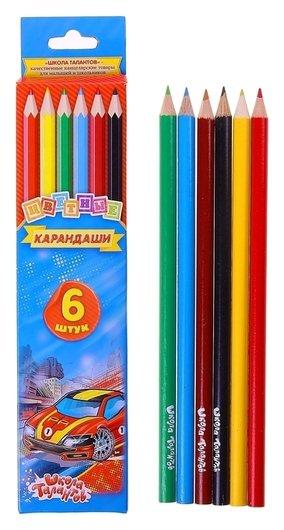 Карандаши 6 цветов «Школа талантов», «машинка» Calligrata