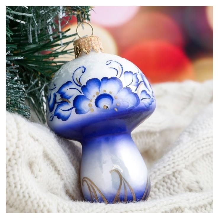 Ёлочная игрушка Грибочек синяя 9 см Ариель
