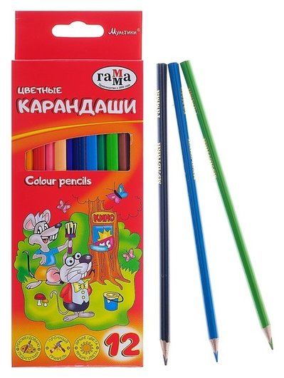 Карандаши 12 цветов «Гамма» «мультики», стержень D=2.6 мм, трёхгранные  Гамма