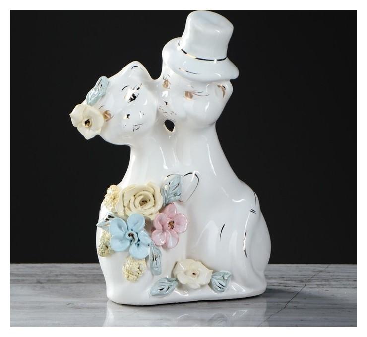 Копилка Жених и невеста, глазурь, белый цвет, 18 см Керамика ручной работы