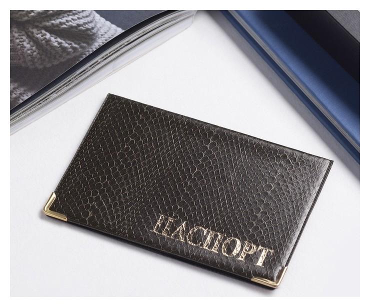 Обложка для паспорта, тиснение - золото, цвет коричневый NNB