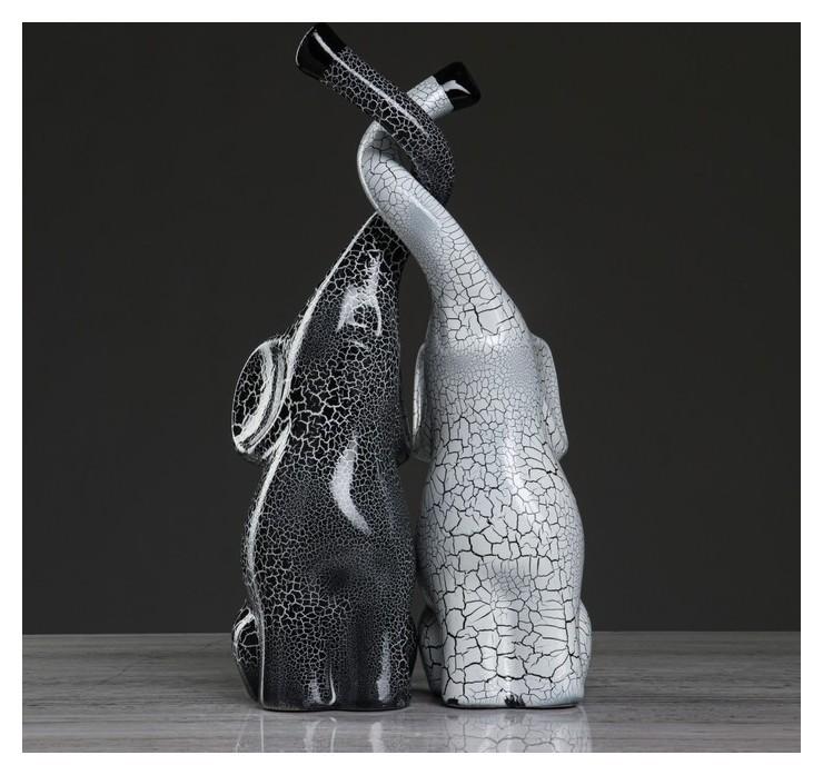 """Набор статуэток """"Слоны инь-янь"""", кракелюр, бело-серый  Керамика ручной работы"""