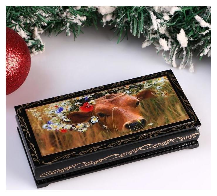 Шкатулка - купюрница «Корова бурьяна», 8,5×17 см, лаковая миниатюра NNB