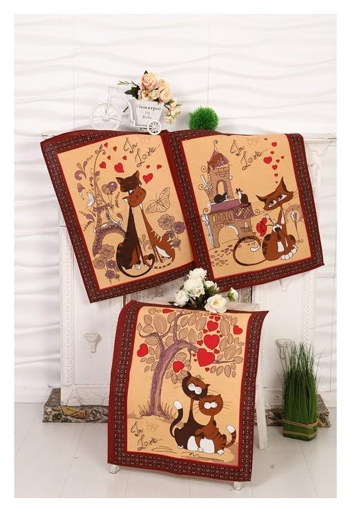 Набор вафельных полотенец кошка 45х60 см - 3 шт (В пакете), коричневый, 170 гр/м, хл100%  DomoVita