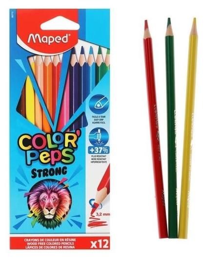 Карандаши 12цв повышенной прочности Maped Color'peps Strong пластиковые,карт.короб,подвес  Maped