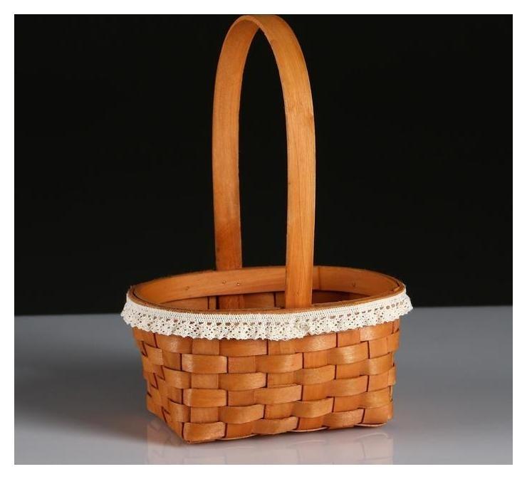 Корзина плетеная (Секвойя), 16х11хн8/21,5 см, 1 шт., натуральный с окантовкой NNB