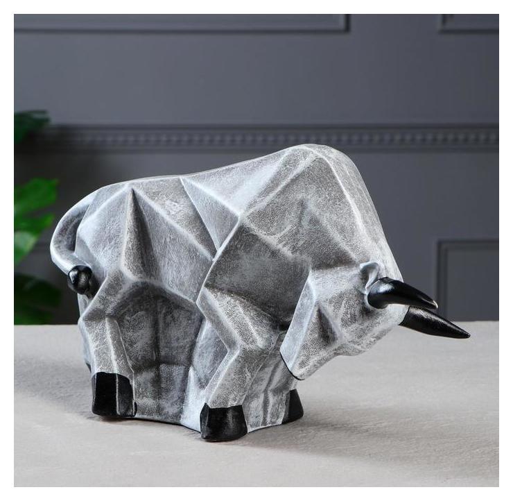 Копилка-оригами Бык, серый камень, 16 см Керамика ручной работы
