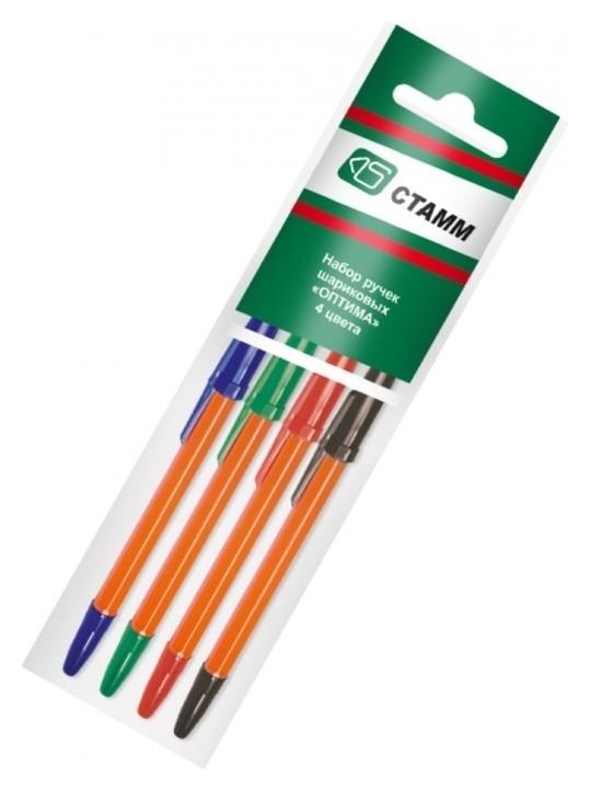 Набор ручек шариковых 4 цвета «Стамм», «оптима», Orange, узел 1.0 мм, чернила: синие, красные, зелёные, чёрные, европодвес Стамм
