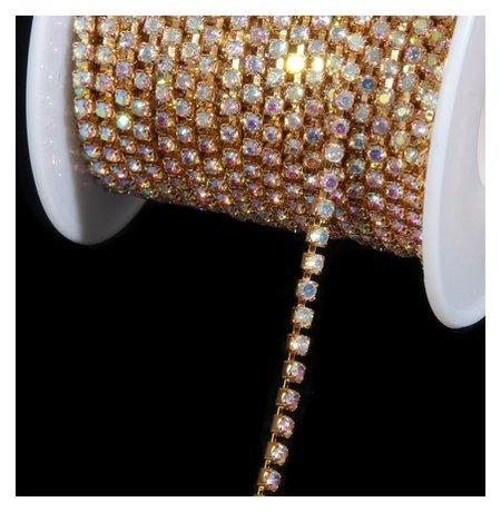 Цепь со стразами, 2 мм, 9 ± 1 м, цвет золотая голография  Арт узор