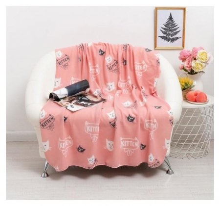 Плед киттен розовый 120х150см, флис 120г/м пэ100%  Belezza