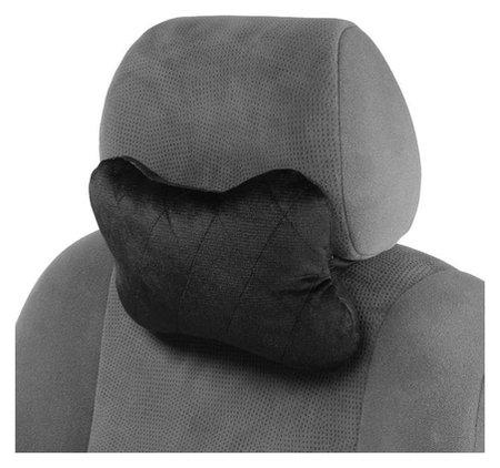 Подушка автомобильная, для шеи, велюр, черный, ромб, 18х26 см  NNB