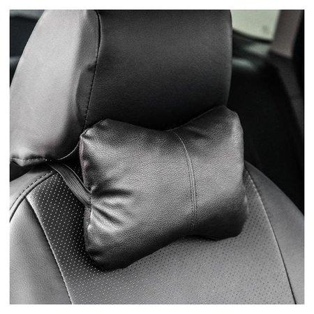 Подушка автомобильная, для шеи, экокожа, черный, 18х26 см