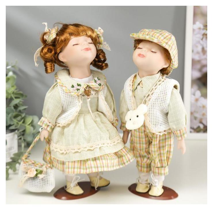 Кукла коллекционная парочка поцелуй набор 2 шт Катя и саша в оливковых нарядах 30 см NNB