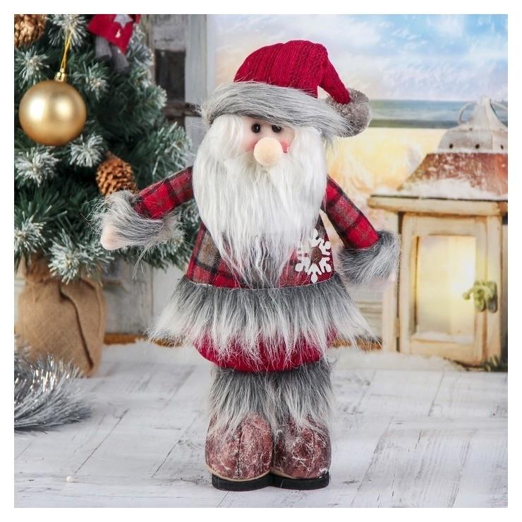 Мягкая игрушка Дед мороз - шубка в клетку 14*30 см Зимнее волшебство