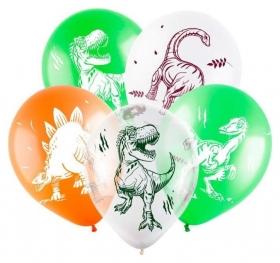 """Шар латексный 12"""" «Динозавры», пастель-кристалл, 4-сторонний, набор 100 шт.  Веселуха"""