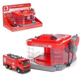 Парковка «Пожарная часть» с машинкой и рацией, световые и звуковые эффекты