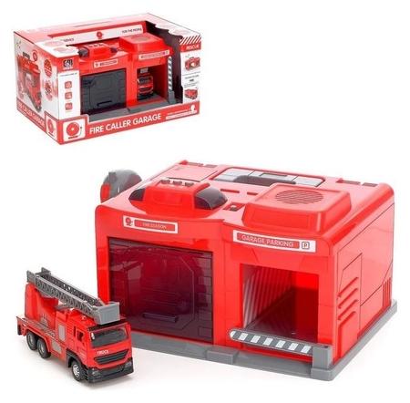 Парковка «Пожарная часть» с машинкой и рацией, световые и звуковые эффекты NNB