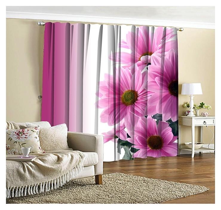 Фотошторы Розовые хризантемы 145х260 см 2шт, габардин 160гр/м2, пэ100% Фабрика штор