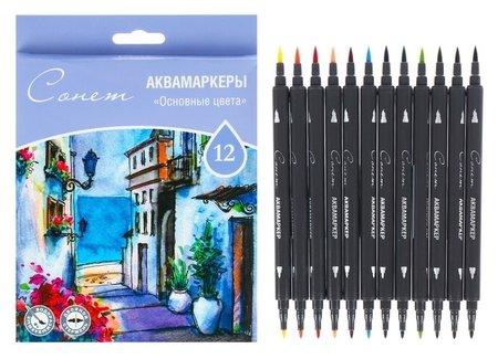 Набор художественных маркеров «Сонет», 12 цветов, водная основа, двусторонний: пулевидная/кисть, основные цвета  Невская палитра