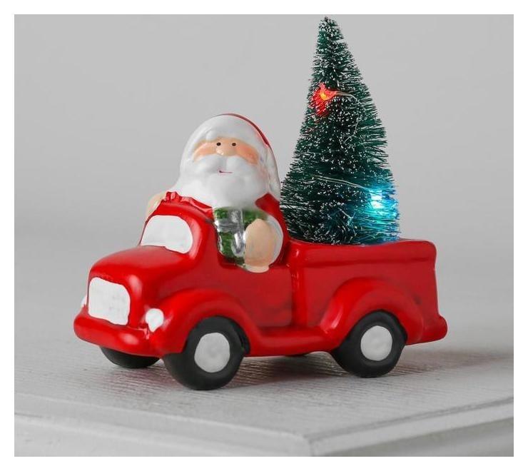 Фигура световая керамическая Дед мороз на машине 11 см, 2 Led, 2xag13 LuazON