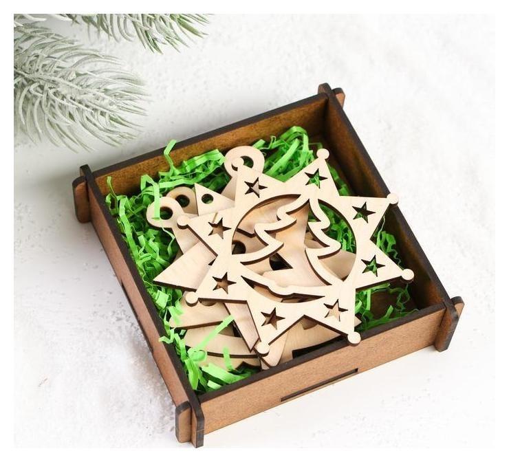 Фигурки для декорирования «Новогодние подвески. ёлочки и снежинки» Woodland