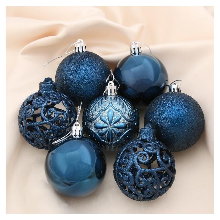Набор шаров пластик D-6 см, 12 шт Сильва синий Зимнее волшебство