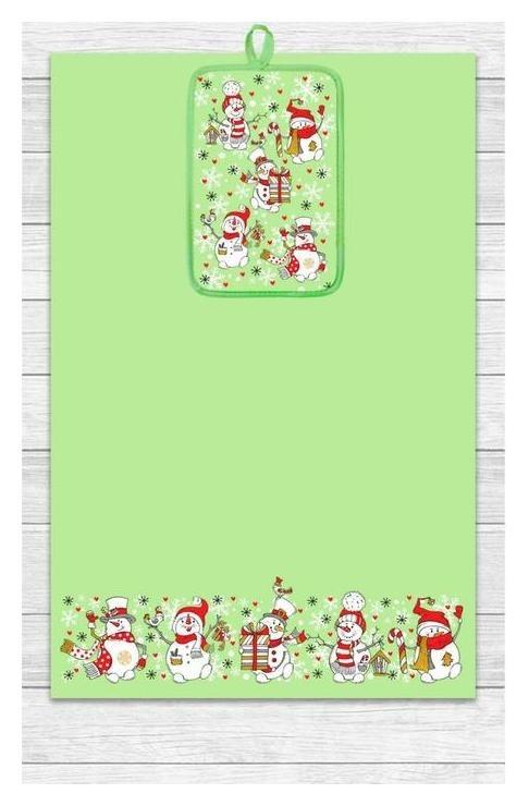 Кухонный набор снеговики (Полотенце 39х60, прихватка 14,5х22) зеленый, хлопок 100%, 200г/м2 Гранд-стиль