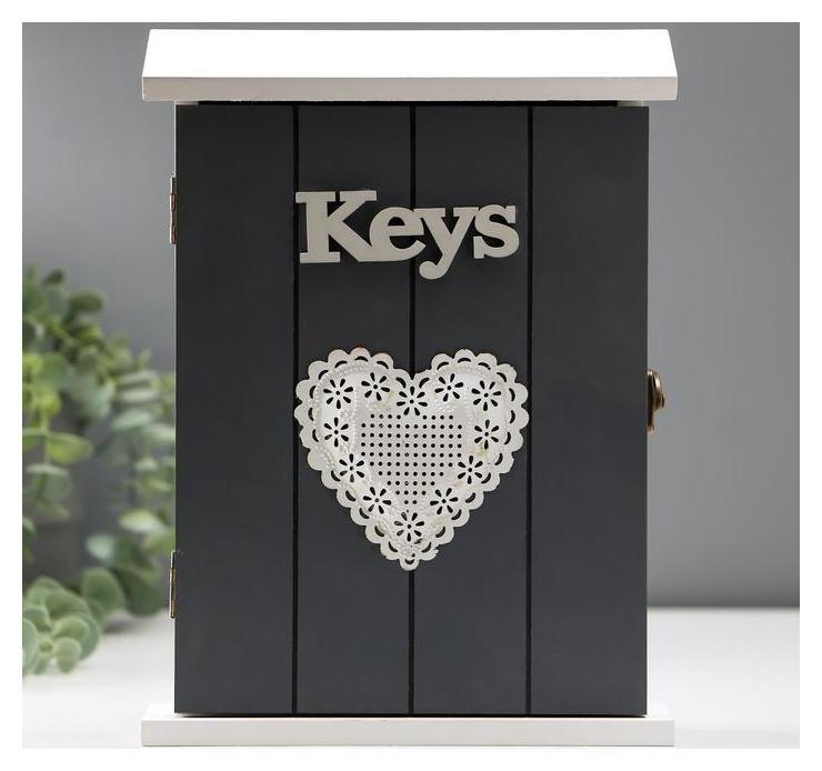 Ключница 6 крючков Ключи Сердце 26х19х6 см NNB