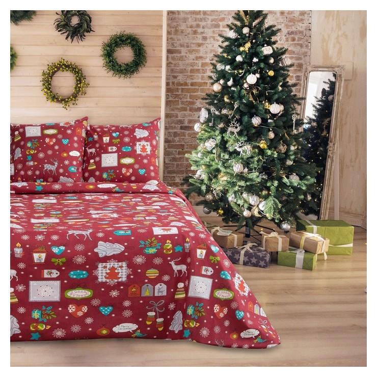 Постельное бельё Рождество 147х210, 150х210, 70х70 2 шт. бязь 100 г/м, хл 100% La Marka Home
